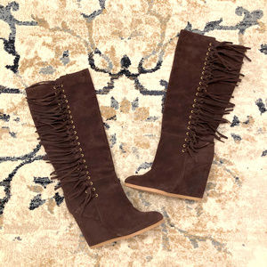 Coach Dollie Tall Knee Fringe Wedge Suede Boots